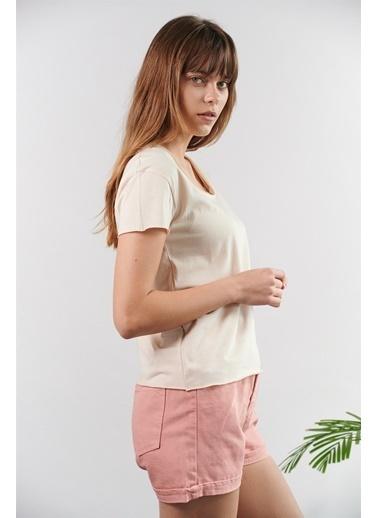 Levure Pamuklu T-Shirt  Bej